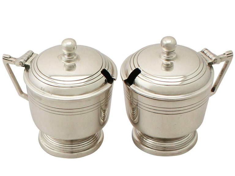 Mid-20th Century Art Deco Style Sterling Silver Condiment Set For Sale