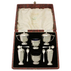 Art Deco Style Sterling Silver Condiment Set