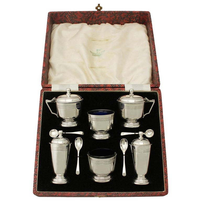 Art Deco Style Sterling Silver Condiment Set For Sale