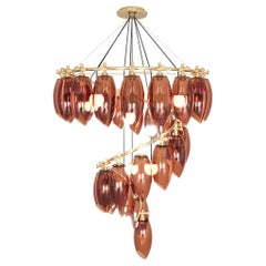 21th Century Art Deco Style Suspension Lamp Chandelier Amber Colored Glass