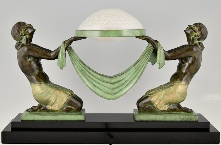 Contemporary Art Deco Style Table Lamp with Two Kneeling Nudes by Fayral for Max Le Verrier For Sale