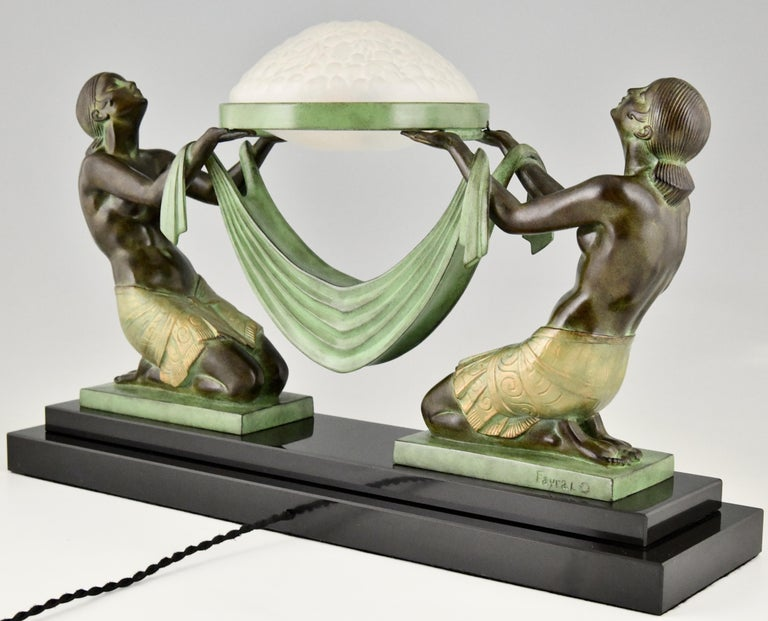 Metal Art Deco Style Table Lamp with Two Kneeling Nudes by Fayral for Max Le Verrier For Sale