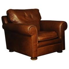Art Deco Style Tan Leather Club Chair on Turned Mahogany Bun Feet