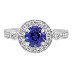 Art Deco Style Tanzanite Diamond Halo Three-Stone Filigree Bridal Gold Ring