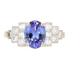 Art Deco Style Tanzanite Diamonds 18 Karat Yellow Gold Platinum Ring