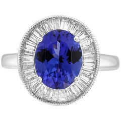 Art Deco Style Tanzanite Oval Diamond Baguette Halo Bridal Cocktail Gold Ring