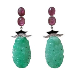 Art Deco Style Tourmaline Cabs Gold Diamonds Enamel Carved Jade Dangle Earrings