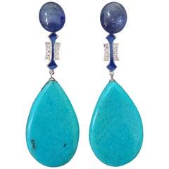 Art Deco Style Turquoise Blue Sapphire Gold Diamonds Blue Enamel Dangle Earrings