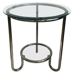 Art Deco Style Two-Tier Round Modern Tubular Chrome and Glass End Side Table
