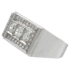 Art Deco Style Vintage 1950s 1.89 Carat Diamond and Platinum Cocktail Ring