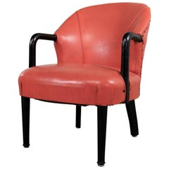 Art Deco Style Vintage Lounge Chair Orange and Black with Ebonized Bentwood Arms
