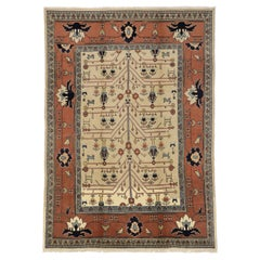 Art Deco Style Vintage Persian Mahal Area Rug with Tree of Life Design