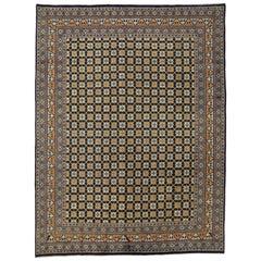 Art Deco Style Vintage Persian Mashhad Rug, Modern Persian Area Rug