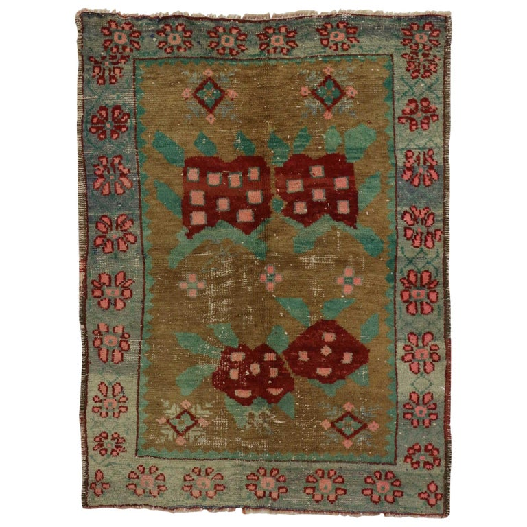 Foyer Rugs Sale : Art deco style vintage turkish oushak rug kitchen foyer