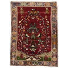 Art Deco Style Vintage Turkish Oushak Rug, Kitchen, Foyer or Entry Rug