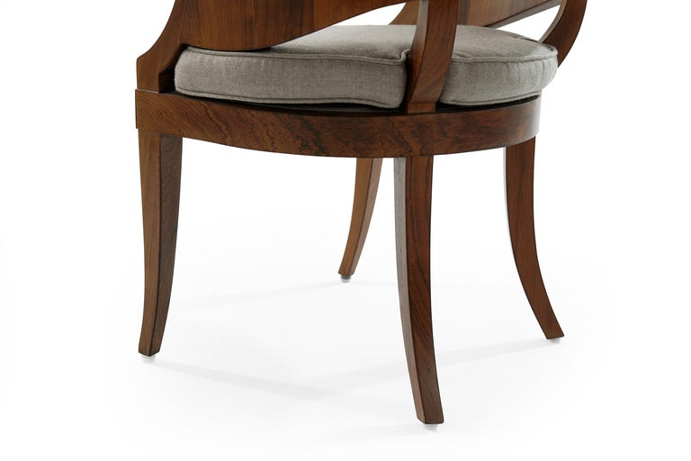 Art Deco Style Walnut Armchairs, c. 1940s For Sale 4