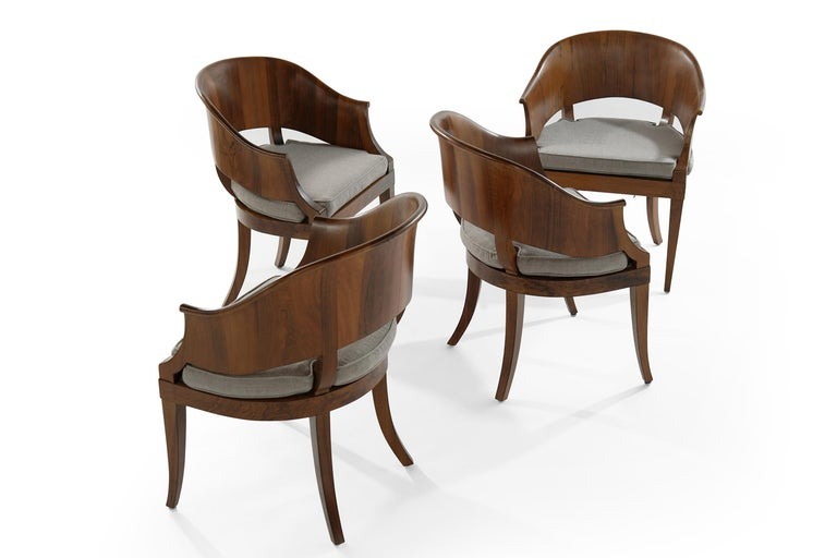 American Art Deco Style Walnut Armchairs, c. 1940s For Sale