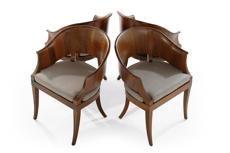 Art Deco Style Walnut Armchairs, c. 1940s In Good Condition For Sale In Stamford, CT