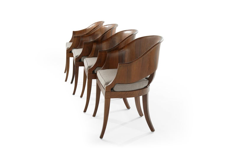 20th Century Art Deco Style Walnut Armchairs, c. 1940s For Sale