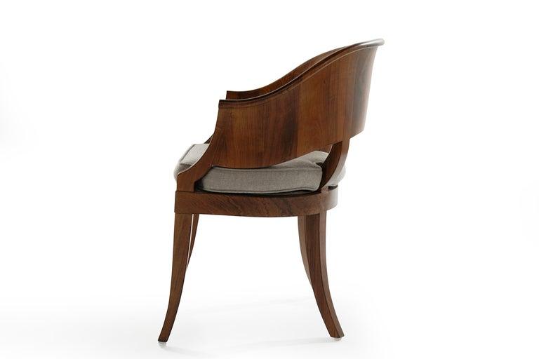 Linen Art Deco Style Walnut Armchairs, c. 1940s For Sale