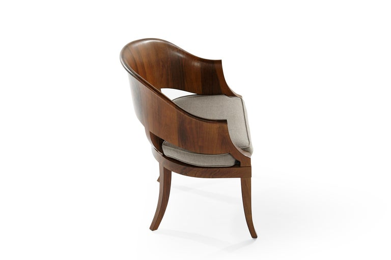 Art Deco Style Walnut Armchairs, c. 1940s For Sale 1
