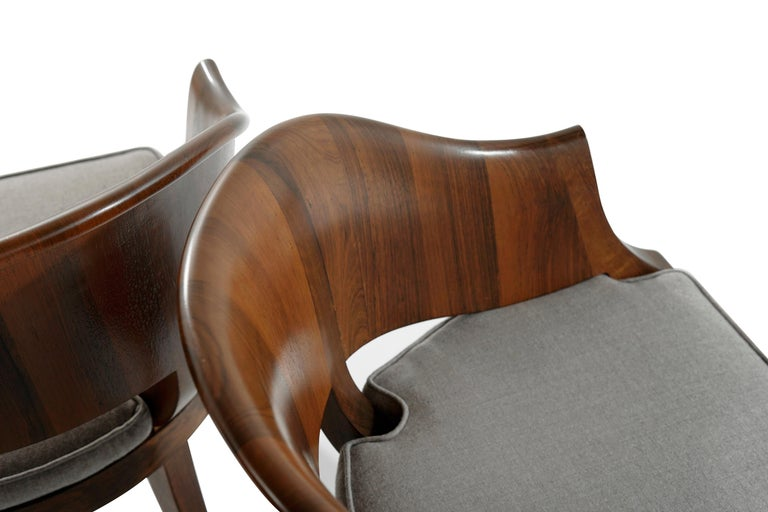 Art Deco Style Walnut Armchairs, c. 1940s For Sale 2
