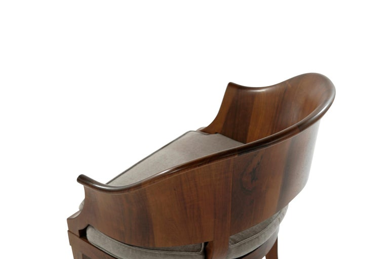 Art Deco Style Walnut Armchairs, c. 1940s For Sale 3