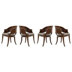 Art Deco Style Walnut Armchairs, c. 1940s