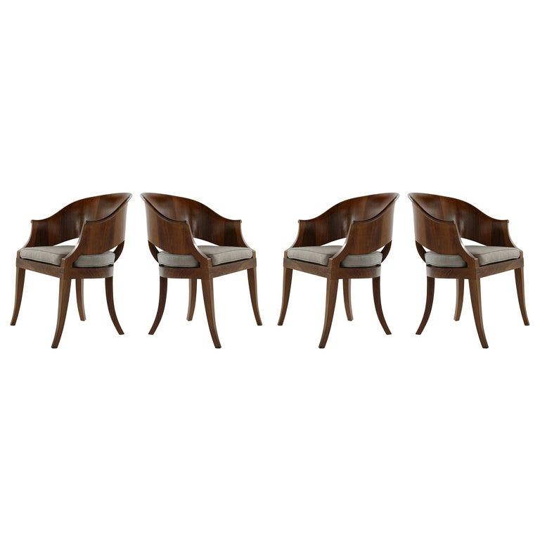Art Deco Style Walnut Armchairs, c. 1940s For Sale