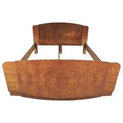 Art Deco Style Walnut Bed by Jindřich Halabala for UP Závody, 1950s