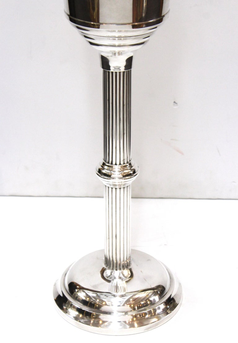 Art Deco Style WearBright Chrome Champagne Ice Bucket with Matching Stand