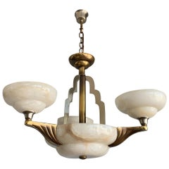 Art Deco Style White Alabaster & Gold Color Coated Bronze & Brass Pendant Light