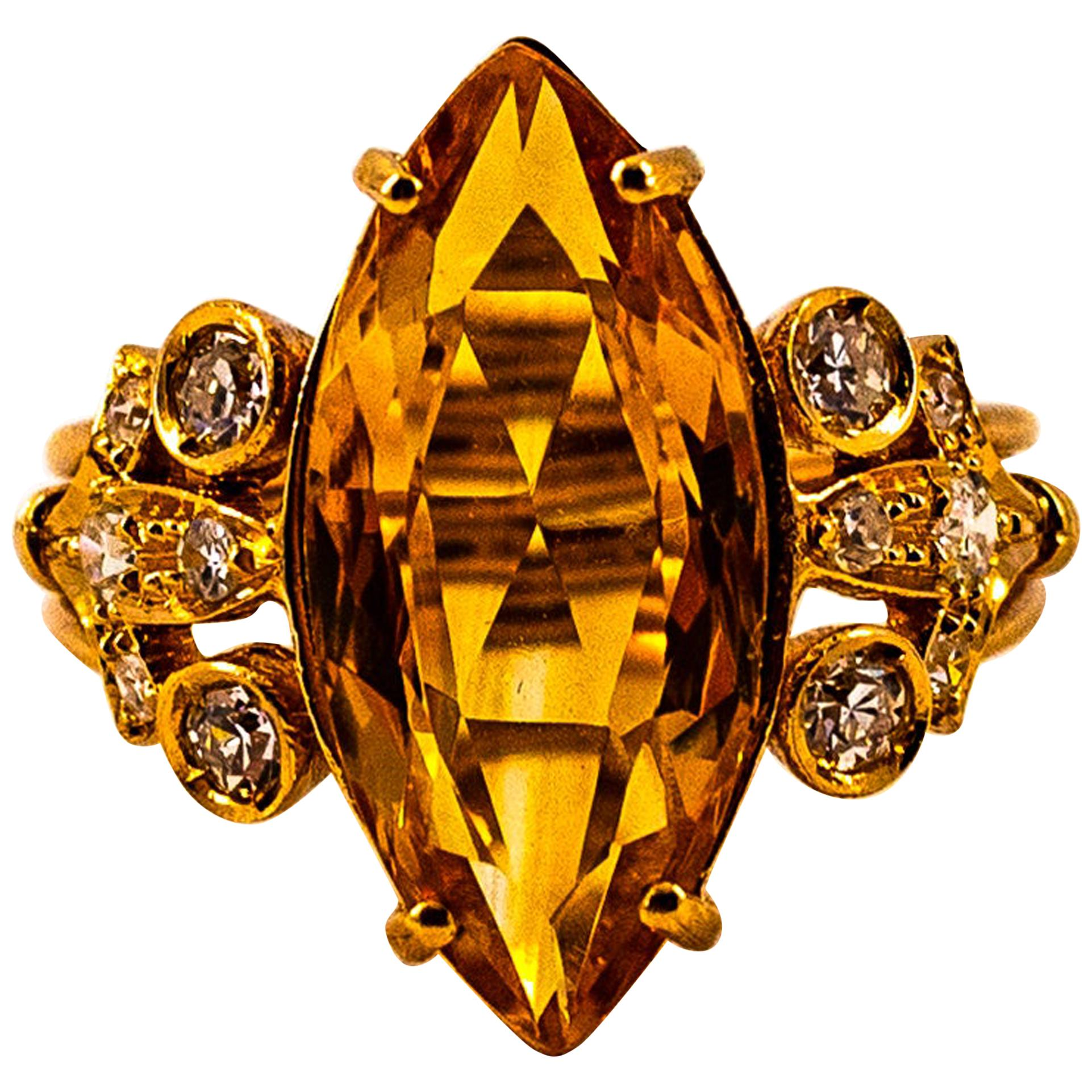 Art Deco Style White Brilliant Cut Diamond Citrine Yellow Gold Cocktail Ring
