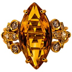 Art Deco Style White Brilliant Cut Diamond Citrine Yellow Gold Cocktail Ring