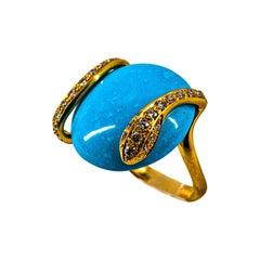 "Art Deco Style White Diamond Handcut Turquoise Yellow Gold Cocktail ""Snake"" Ring"