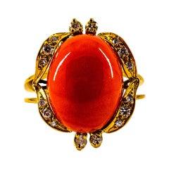 Art Deco Style White Diamond Mediterranean Peach Coral Yellow Gold Cocktail Ring