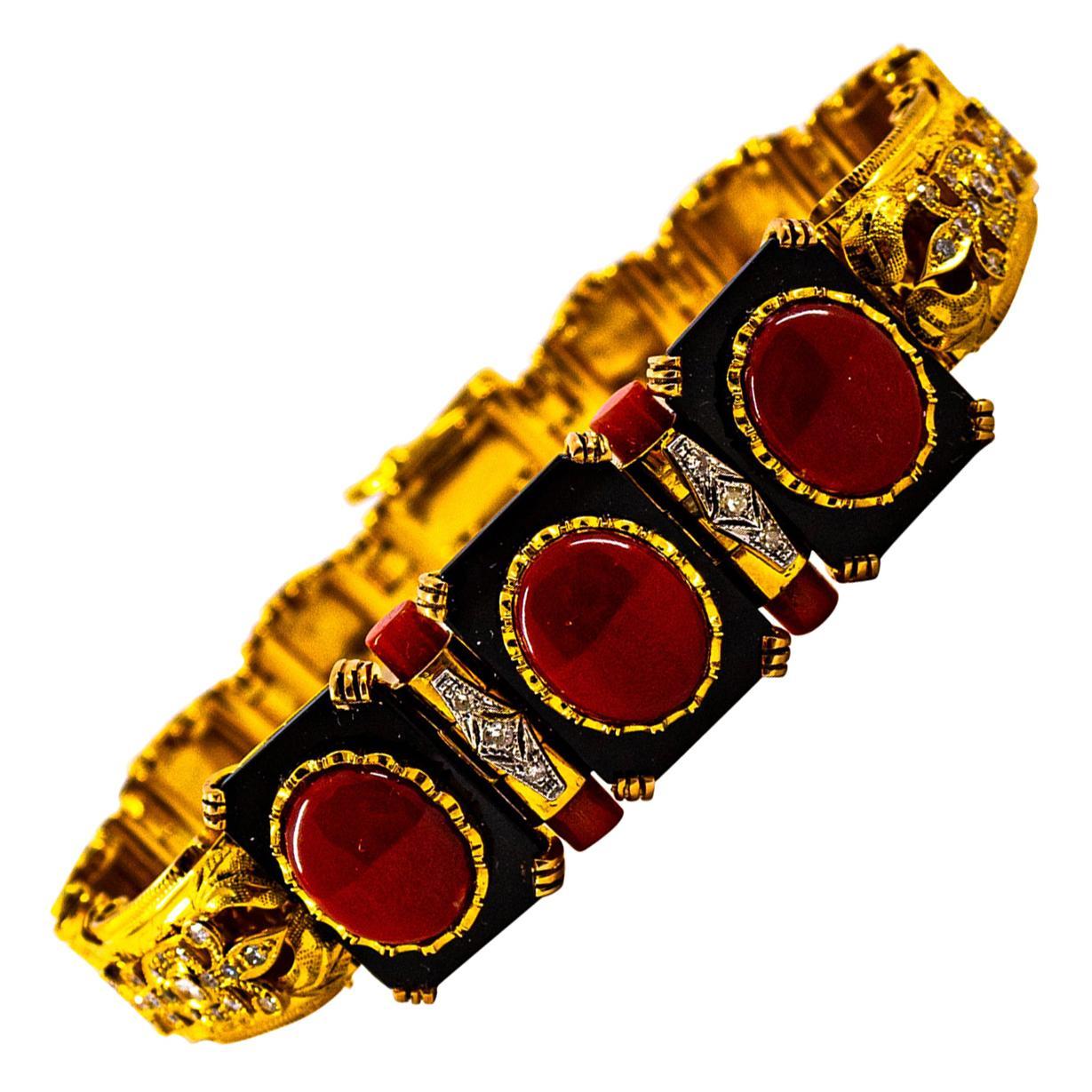 Art Deco Style White Diamond Mediterranean Red Coral Onyx Yellow Gold Bracelet