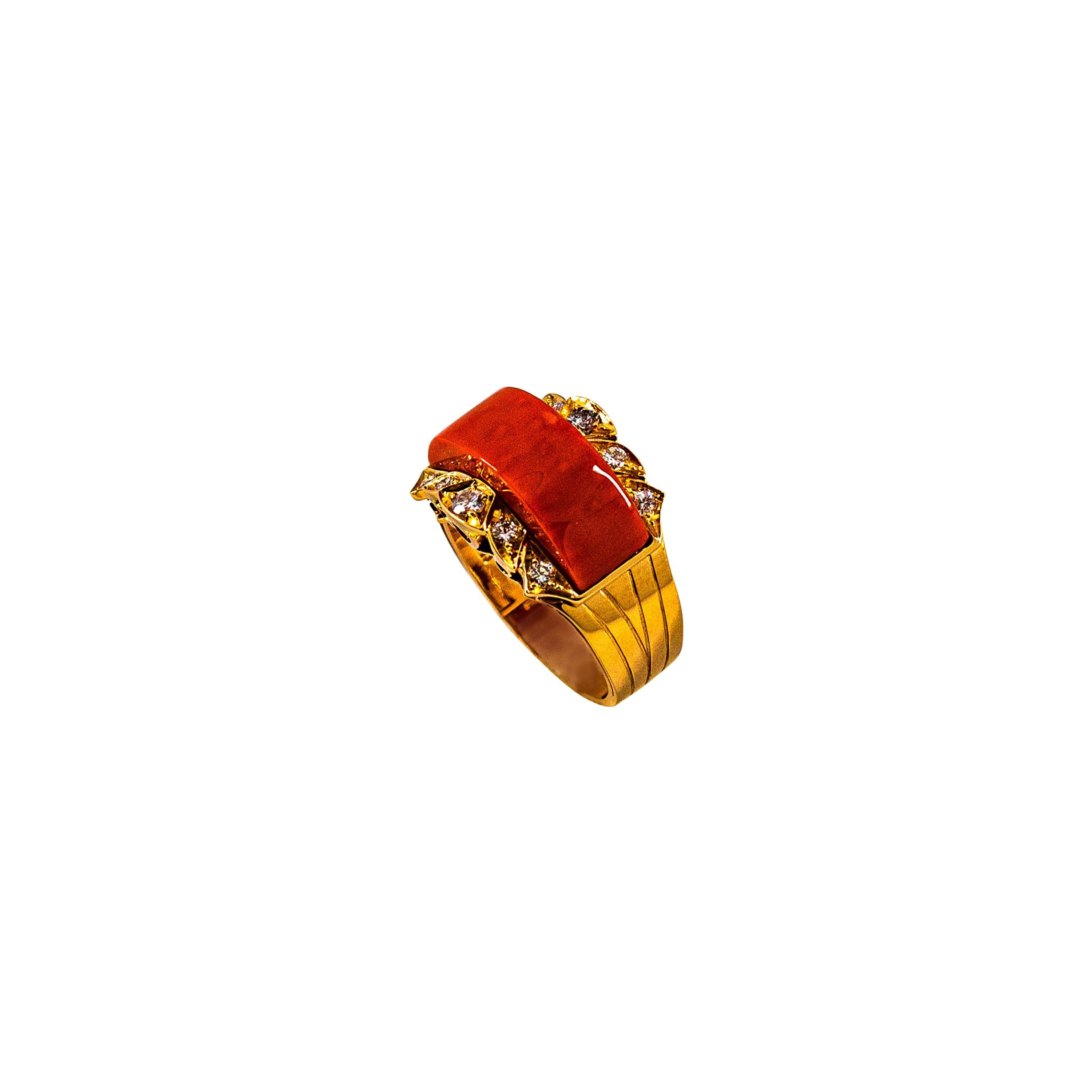 Art Deco Style White Diamond Mediterranean Red Coral Yellow Gold Cocktail Ring