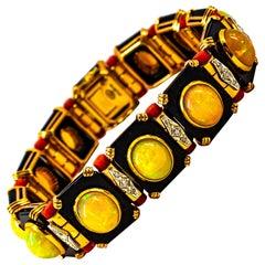 Art Deco Style White Diamond Oval Cut Opal Red Coral Onyx Yellow Gold Bracelet