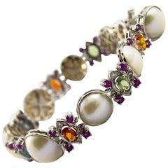 Art Deco Style White Diamond Pearl Ruby Yellow Blue Sapphire White Gold Bracelet