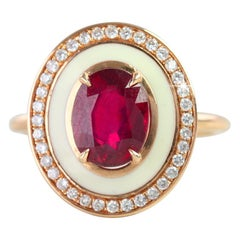 Art Deco Style White Enameled Oval Ruby and Diamond Cocktail Ring