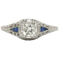 Art Deco Style White Gold 3 Carat Round Brilliant Diamond Triangle Sapphire