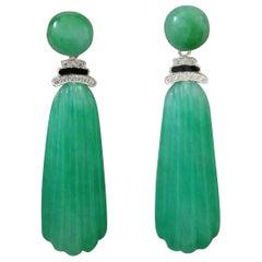 Art Deco Style White Gold Diamonds Black Enamel Carved Burma Jade Drop Earrings