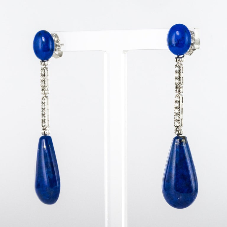 Art Deco Style White Gold Lapis Lazuli Diamonds Dangle Earrings In New Condition For Sale In Poitiers, FR