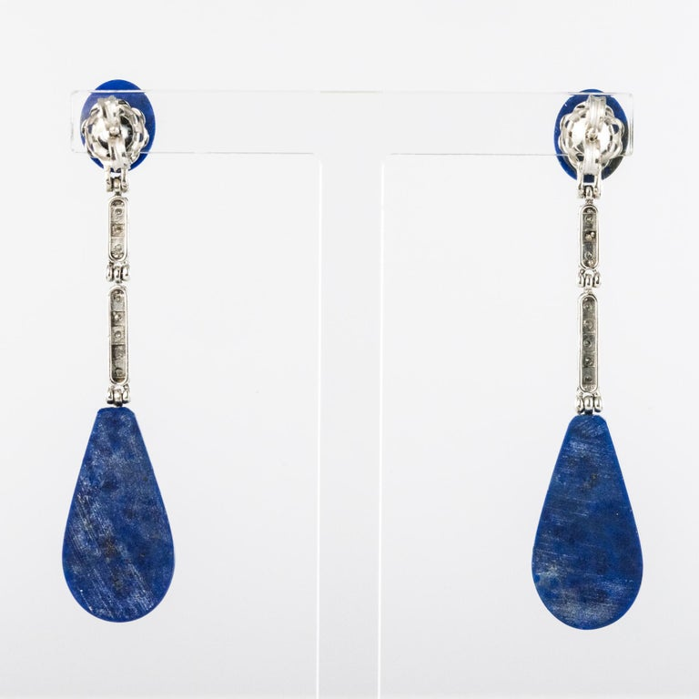 Women's Art Deco Style White Gold Lapis Lazuli Diamonds Dangle Earrings For Sale