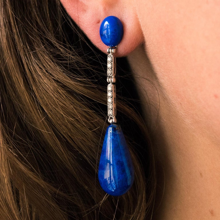 Art Deco Style White Gold Lapis Lazuli Diamonds Dangle Earrings For Sale 4
