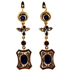 Art Deco Style White Rose Cut Diamond Blue Sapphire Yellow Gold Drop Earrings