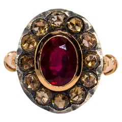 Art Deco Style White Rose Cut Diamond Oval Cut Ruby Yellow Gold Cocktail Ring