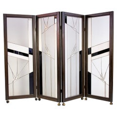 Art Deco Style Wood and Leaded Glass Screen by Poliarte