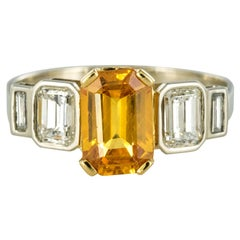 Art Deco Style Yellow Ceylon Sapphire Diamonds Ring